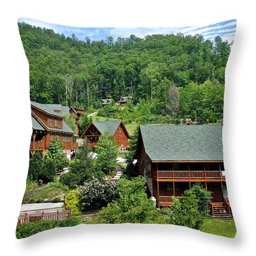 Smoky Mountain Cabins Throw Pillow by Frozen in Time Fine Art Photography
