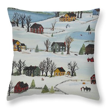 Throw Pillow featuring the painting Snow Day by Virginia Coyle
