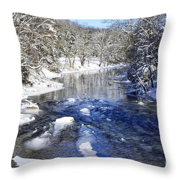 Snow On Gauley River Throw Pillow by Thomas R Fletcher