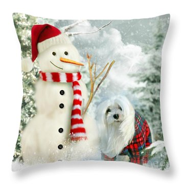 Snowdrop And The Snowman Throw Pillow by Morag Bates