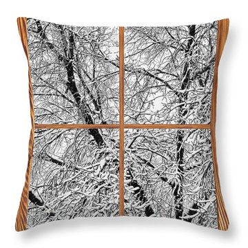 Snowy Tree Branches Barn Wood Picture Window Frame View Throw Pillow by James BO  Insogna