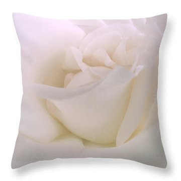 Softness Of A White Rose Flower Throw Pillow