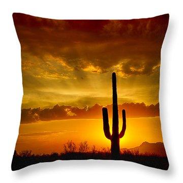 Southwestern Style Sunset  Throw Pillow by Saija  Lehtonen