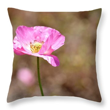 Spring Poppy Flower Throw Pillow