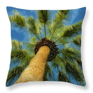 Square Polaroid Palm Tree Throw Pillow