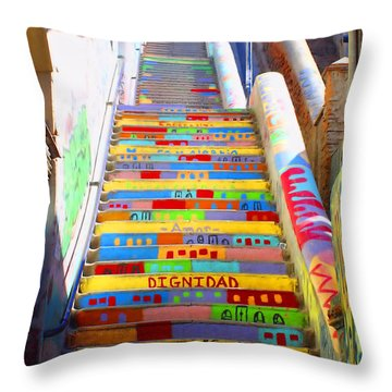 Stairway To Heaven Valparaiso  Chile Throw Pillow