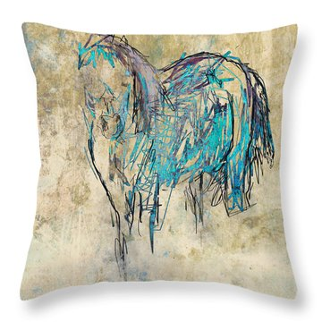 Standing Horse Throw Pillow by Suzanne Powers