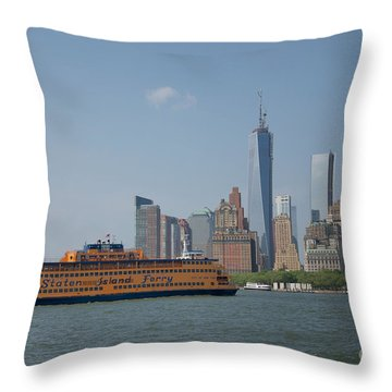 Staten Island Ferry Throw Pillow by Carol Ailles