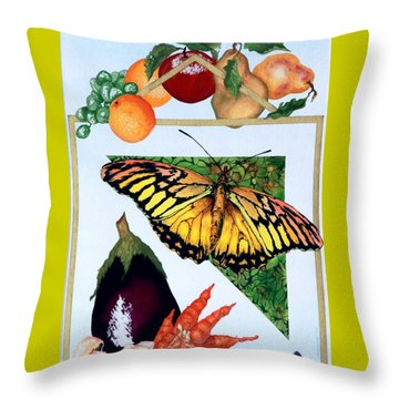 Still Life With Moth #1 Throw Pillow