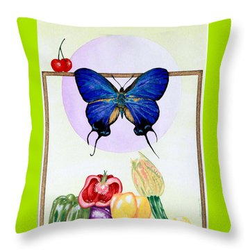 Still Life With Moth #2 Throw Pillow