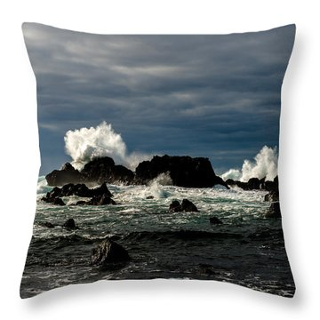Stormy Seas And Spray Under Dark Skies  Throw Pillow