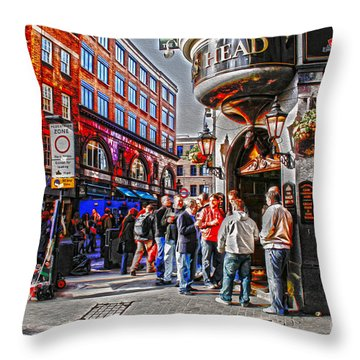 Streetlife In London Throw Pillow