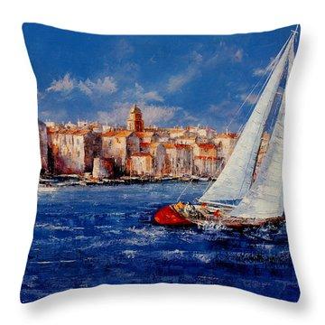 St.tropez - France Throw Pillow by Miroslav Stojkovic - Miro