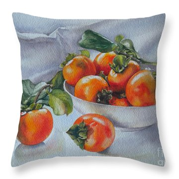 Throw Pillow featuring the painting Summer Harvest  1 Persimmon Diospyros by Sandra Phryce-Jones