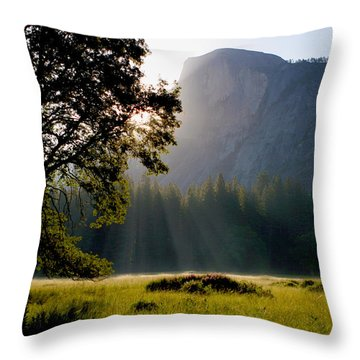 Summer Sunrise In Yosemite Valley Throw Pillow