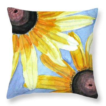 Throw Pillow featuring the painting Summer Susans by Angela Davies