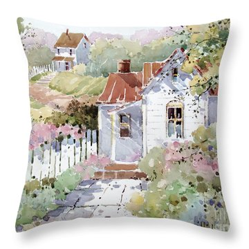 Summer Time Cottage Throw Pillow
