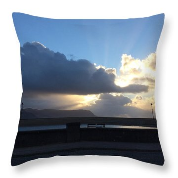 Sunbeams Over Conwy Throw Pillow by Christopher Rowlands