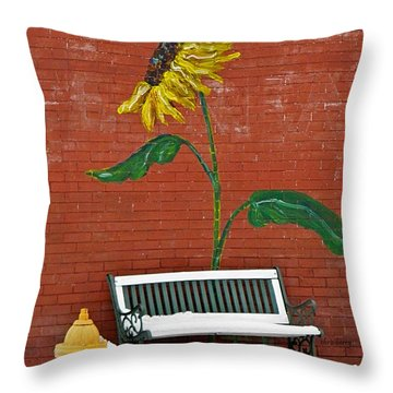 Sunflower And Snow Throw Pillow by Chris Berry