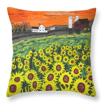 Sunflower Valley Farm Throw Pillow