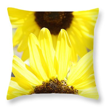 Sunflowers Throw Pillow by Les Cunliffe