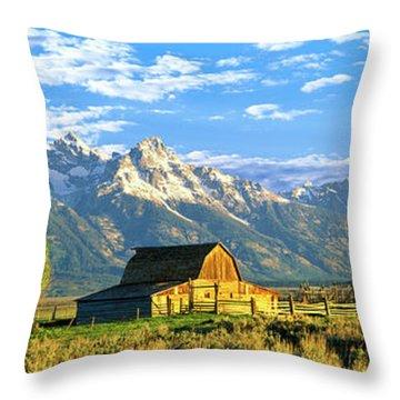 Sunrise Over The Moulton Barn Throw Pillow