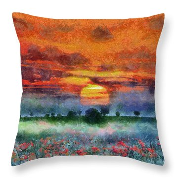 Throw Pillow featuring the painting Sunset by Georgi Dimitrov