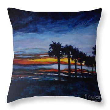 Sunset In St. Andrews Throw Pillow by Jan Bennicoff