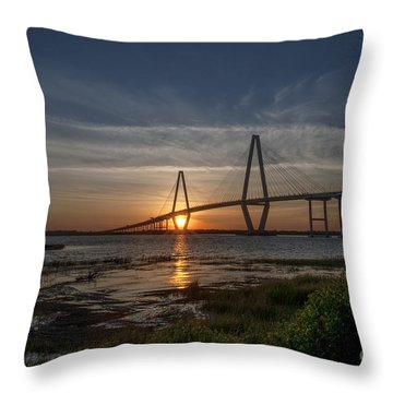 Sunset Over The Bridge Throw Pillow