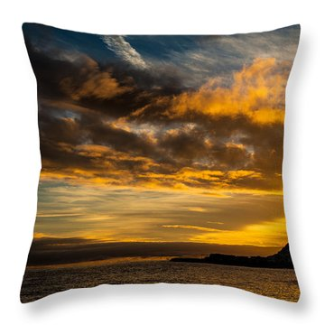 Sunset Over The Ocean  Throw Pillow