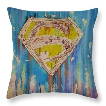 Superman's Shield Throw Pillow by Justin Moore