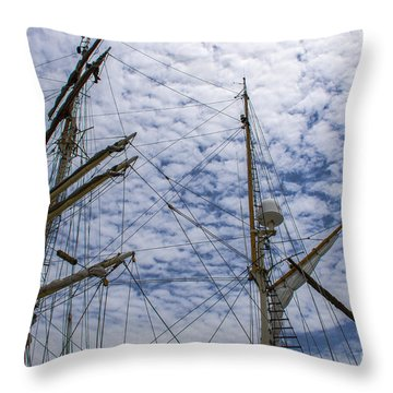 Tall Ship Mast Throw Pillow by Dale Powell