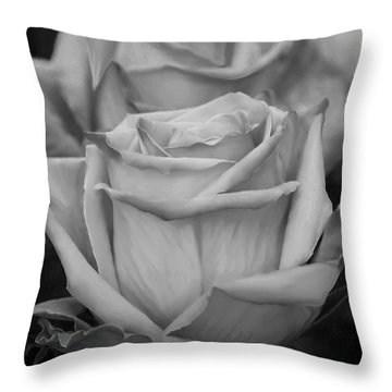 Tea Roses In Black And White Throw Pillow