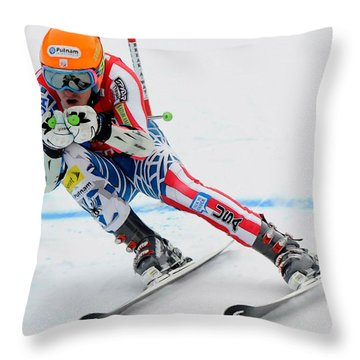 Ted Ligety Skiing  Throw Pillow by Lanjee Chee
