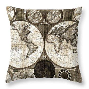 Terraqueous Globe - Map Of The World Throw Pillow by EricaMaxine  Price