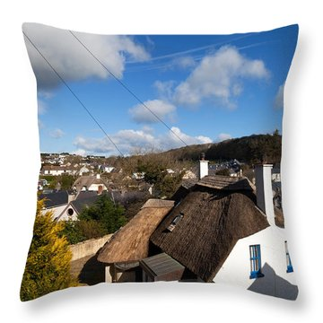 Thatched Cottages Near Dunmore Strand Throw Pillow