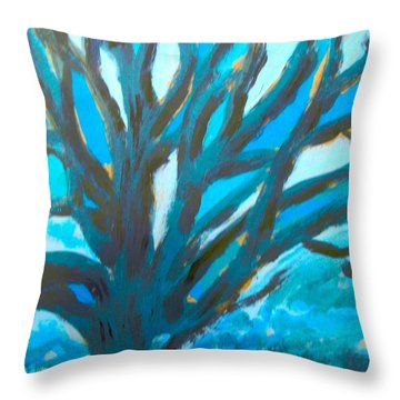 The Blue Tree Throw Pillow