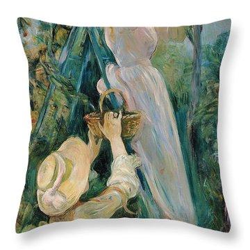 The Cherry Picker  Throw Pillow by Berthe Morisot