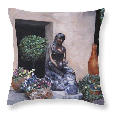 The Courtyard Throw Pillow by Roberta Rotunda