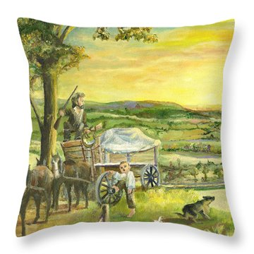 Throw Pillow featuring the painting The Farm Boy And The Roads That Connect Us by Mary Ellen Anderson