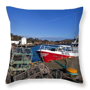 The Fishing Harbour, Dunmore East Throw Pillow