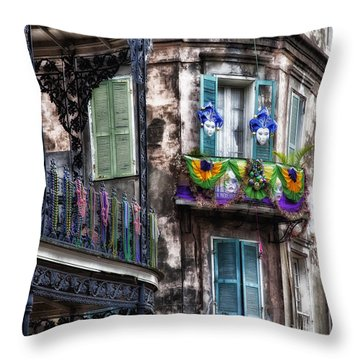 The French Quarter During Mardi Gras Throw Pillow