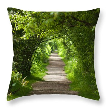 The Green Tunnel Throw Pillow
