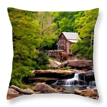 The Grist Mill Painted  Throw Pillow by Steve Harrington