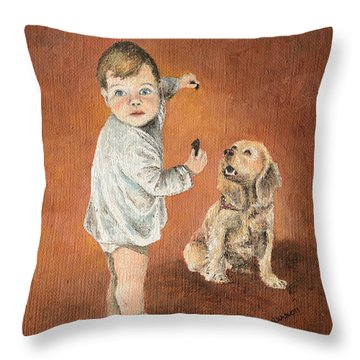 Throw Pillow featuring the painting The Guilty Ones by Mary Ellen Anderson