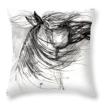 The Horse Sketch Throw Pillow