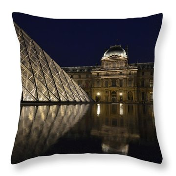 The Louvre Palace And The Pyramid At Night Throw Pillow