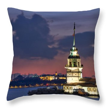 The Maiden's Tower Throw Pillow by Ayhan Altun