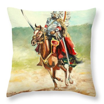 The Polish Winged Hussar Throw Pillow