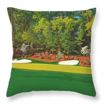 Thirteenth At Augusta Throw Pillow by L J Oakes